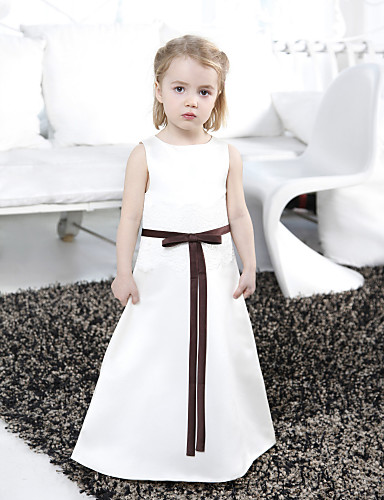 A-Line Princess Floor Length Flower Girl Dress - Satin Sleeveless Bateau Neck with Ribbon by LAN TING BRIDE®