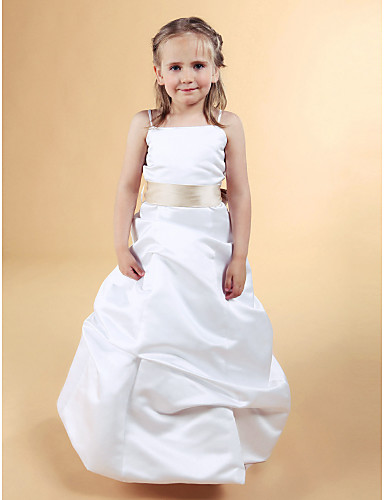 A-Line Princess Floor Length Flower Girl Dress - Satin Sleeveless Spaghetti Straps with Bow(s) Pick Up Skirt Sash / Ribbon by LAN TING