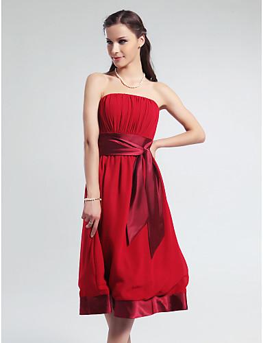 229546cf61 Knee-length Chiffon   Stretch Satin Bridesmaid Dress - Ruby Plus Sizes    Petite A-line Strapless 175963 2019 –  39.99