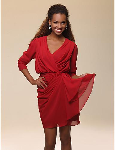 Sheath / Column V-neck Short / Mini Chiffon Party Dress with Draping