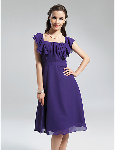 A-Line Square Neck Knee Length Chiffon Bridesmaid Dress with Draping Ruffles by LAN TING BRIDE®