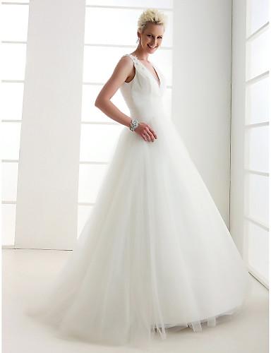 A-kroj / Princeza V izrez Do poda Til Izrađene su mjere za vjenčanja s Perlica / Ukriženo po LAN TING BRIDE® / Open Back