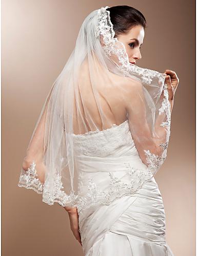 Μίας Βαθμίδας Άκρη με Απλίκα Δαντέλας Πέπλα Γάμου Πέπλα ως τον αγκώνα Με Διακοσμητικά Επιράμματα 31,5 ίντσες (80εκ) Δαντέλα Τούλι Γραμμή