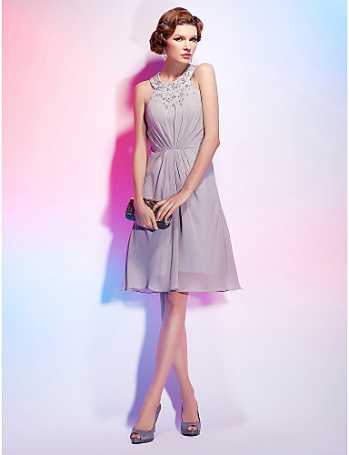 A-Line Princess Fit & Flare Jewel Neck Knee Length Chiffon Cocktail Party Homecoming Dress with Beading Side Draping by TS Couture®