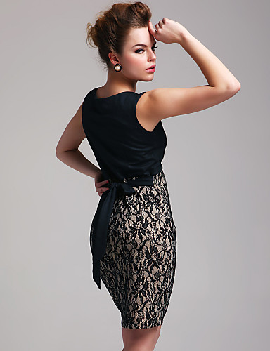 TS Graceful Color-block Lace Bodycon Dress