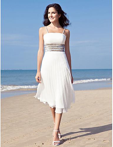 Ίσια Γραμμή Λεπτές Τιράντες Κάτω από το γόνατο Σιφόν Φορέματα γάμου φτιαγμένα στο μέτρο με Πούλιες με LAN TING BRIDE® / Μικρά Άσπρα Φορέματα