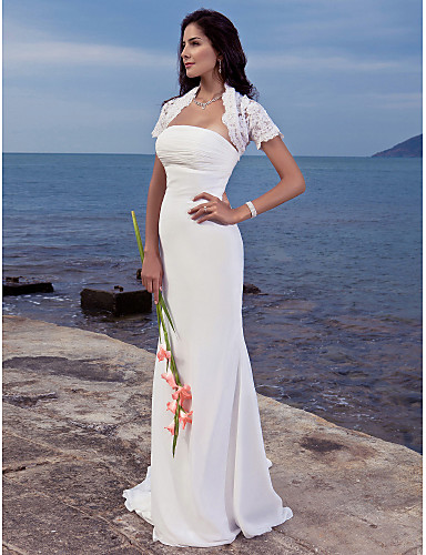 cheap Beach & Honeymoon Dresses-Mermaid / Trumpet Strapless Sweep / Brush Train Chiffon Made-To-Measure Wedding Dresses with Ruched by LAN TING BRIDE® / Yes