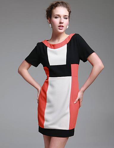 ts Einfachheit Kurzarm geprüft Farbe Block Kleid