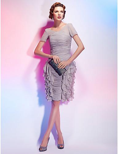Tube / kolonne V-hals Knælang Chiffon Cocktailparty Kjole med Krøllede Folder Pjuskede flæser ved TS Couture®