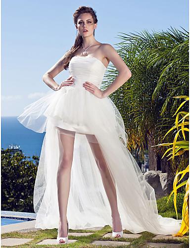 Πριγκίπισσα Στράπλες Ασύμμετρο Τούλι Φορέματα γάμου φτιαγμένα στο μέτρο με Διακοσμητικά Επιράμματα με LAN TING BRIDE®