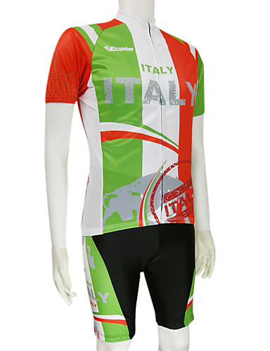 cheap Cycling Clothing-Malciklo Men's Short Sleeve Cycling Jersey with Shorts - Red / Green Italy National Flag Bike Clothing Suit Breathable Quick Dry Sports Polyester Mountain Bike MTB Road Bike Cycling Clothing Apparel