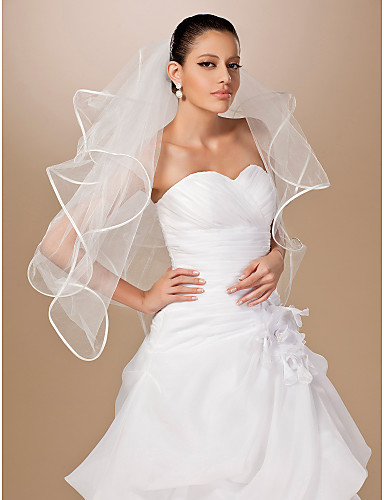fire-tier tyl bånd kant fingerspids bryllup slør