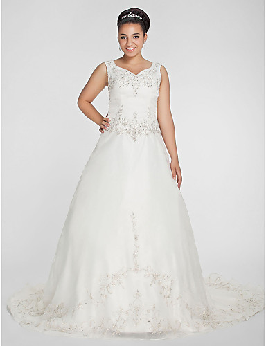 3596f47761 Plus Size A-Line   Princess V Neck Chapel Train Organza   Beaded Lace  Made-To-Measure Wedding Dresses with Beading   Embroidery by LAN TING BRIDE®