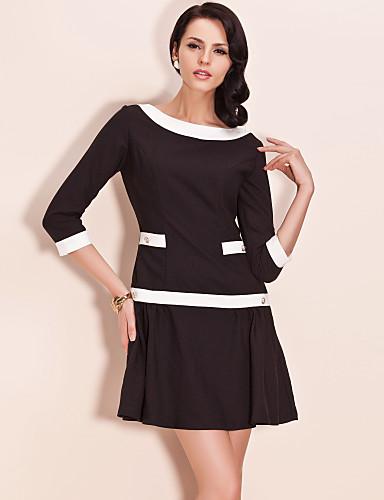 TS VINTAGE Style Contrast Color Dress