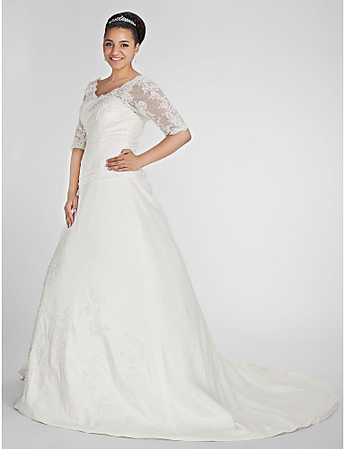Plus Size A-Line V Neck Chapel Train Taffeta Made-To-Measure Wedding Dresses  with Beading   Appliques   Side-Draped by LAN TING BRIDE®   Illusion Sleeve  ... eb1609acd