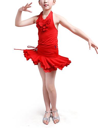 dancewear de poliéster con volantes y una falda top latin 2 piezas conjunto para los niños