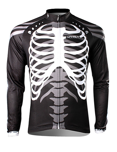 cheap Cycling Clothing-SPAKCT Men's Long Sleeve Cycling Jersey - Black / White Skeleton Bike Jersey Top Thermal / Warm Breathable Quick Dry Sports 100% Polyester Mountain Bike MTB Road Bike Cycling Clothing Apparel