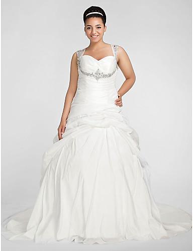 Plesové šaty Srdcový výstřih Extra dlouhá vlečka Taft Svatební šaty s Korálky Nabíraná sukně Křížení Sklady podle LAN TING BRIDE®
