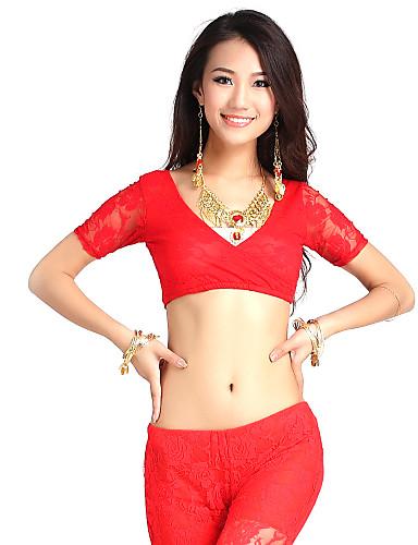 여자보다 색상 안무 복의 레이스 벨리 댄스 짧은 소매 상단
