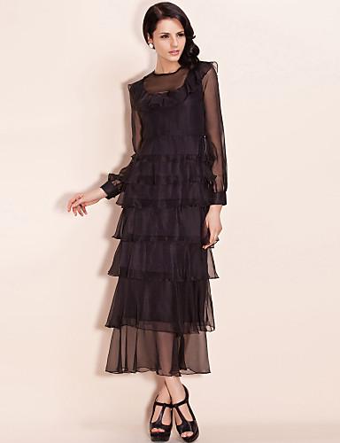 TS Elegant Cascading Flounced Dress