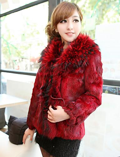 Long Sleeve Fox Fur Collar Office/Party Rabbit Fur Coat (More Colors)