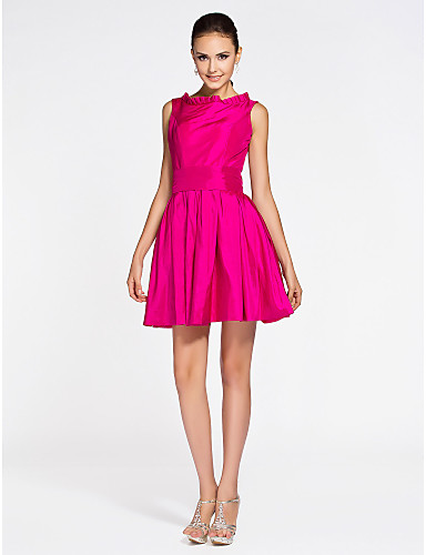A-Line Princess Bateau Neck Short / Mini Taffeta Bridesmaid Dress with Draping Pleats by LAN TING BRIDE®