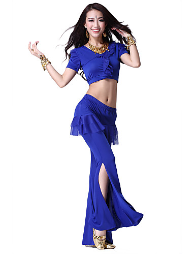 Dancewear Viscose and Tulle Belly Dance Top and Bottom for Ladies More Colors