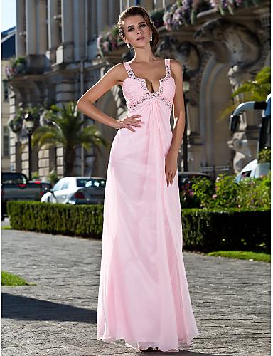 Ίσια Γραμμή Λουριά Μακρύ Σιφόν Χοροεσπερίδα / Επίσημο Βραδινό Φόρεμα με Χάντρες / Πλαϊνό ντραπέ / Πιασίματα με TS Couture®