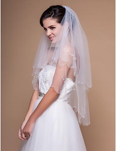Two-tier Elbow Wedding Veil Med Beaded Edge