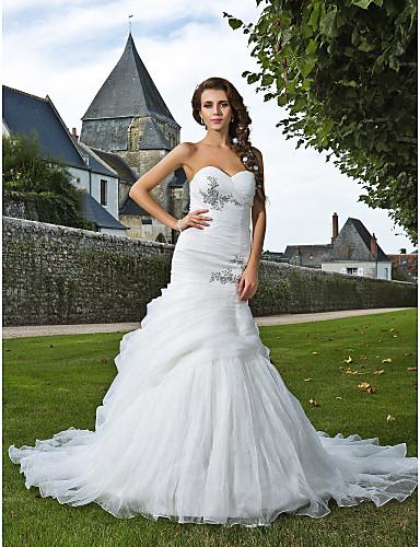 Trompeta / Sirena Escote Corazón Capilla Organza Vestidos de novia personalizados con Cuentas Apliques Recogido Lateral Fruncido por LAN