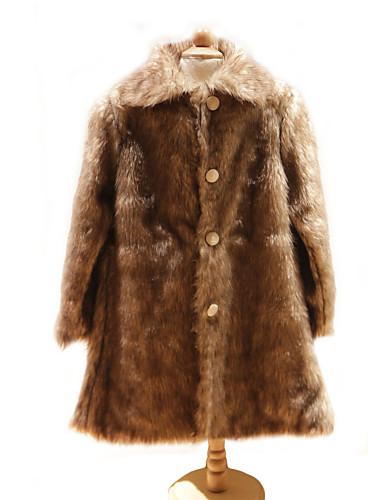 Kids' Wraps / Fur Wraps / Fur Coats Coats/Jackets Long Sleeve Faux Fur Brown Wedding / Party/Evening Button / Ruched Clasp