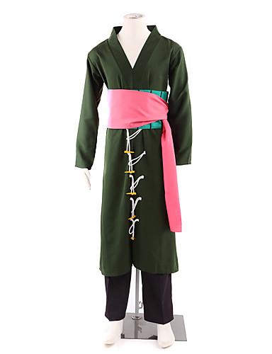 povoljno Anime kostimi-Inspirirana One Piece Roronoa Zoro Anime Cosplay nošnje Japanski Cosplay Suits / Kimono Kolaž Dugih rukava Hlače / Struk Pribor / Pojas Za Muškarci