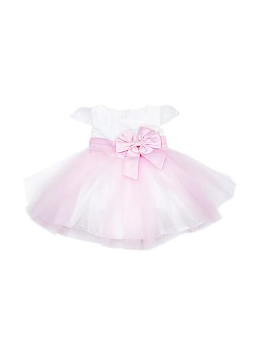 A-line Short Sleeve Mini length Tulle & Satin Flower Girl Dress With Embroidery & Bow