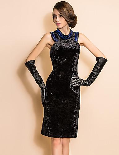 TS VINTAGE Beads Velvet Sleeveless Sheath Dress