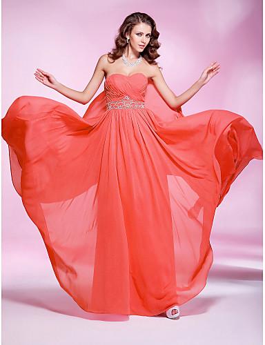 Sütun Kalp Yaka Yere Kadar Jorget Boncuklama Pileler ile Balo / Resmi Akşam Elbise tarafından TS Couture®