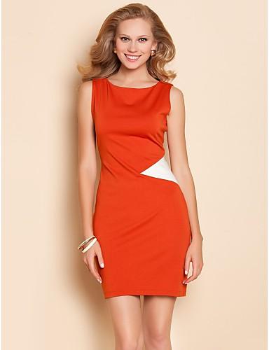 TS Yksinkertaisuus Kontrasti väri Jersey Slim Dress