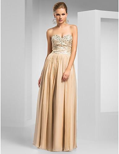 Sheath/Column Sweetheart Floor-length Chiffon Evening Dress