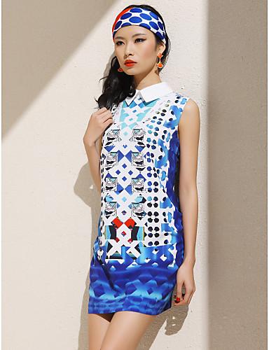 TS Pointed Collar Print ærmeløs kjole