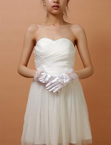Wrist Length Fingertips Glove Elastic Satin Party/ Evening Gloves Flower Girl Gloves Spring Summer Fall Winter Bow