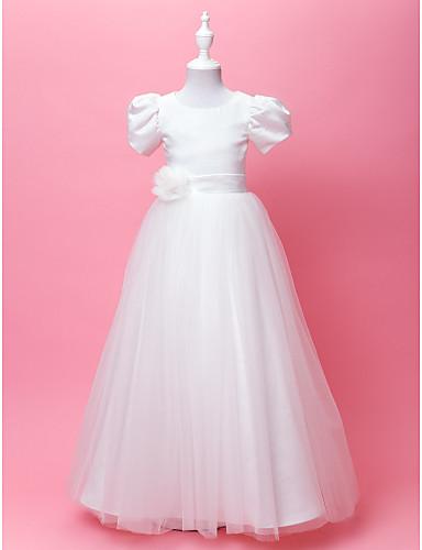 A-line printesa podea lungime floare fată rochie - satin satin mâneci scurte gât bijuterie cu draping de lan ting bride®