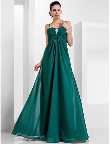 A-Şekilli Spagetti Askılı Yere Kadar Şifon Kristal Broş ile Resmi Akşam / Askeri Balo Elbise tarafından TS Couture®
