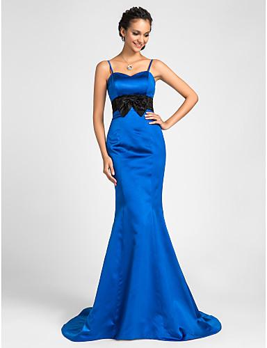 Mermaid / Trumpet Spaghetti Straps Sweetheart Sweep / Brush Train Satin Bridesmaid Dress with Bow(s) Lace Sash / Ribbon by LAN TING BRIDE®
