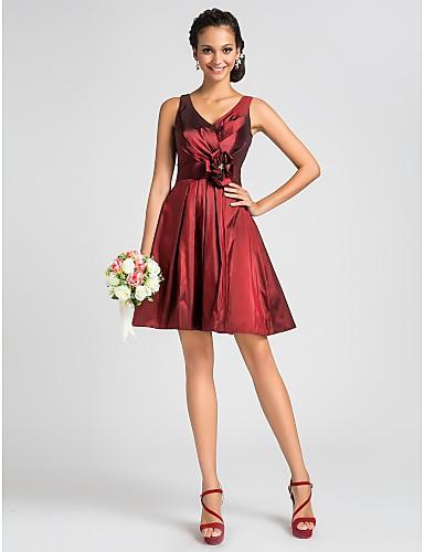 A-kroj Princeza V izrez Do koljena Taft Haljina za djeverušu s Drapirano Cvijeće Traka / vrpca Križano po LAN TING BRIDE®