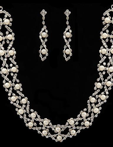 billige Smykkesalg-Dame Hvit Perle Smykke Sett Stilfull øredobber Smykker Til Bryllup Fest jubileum Bursdag Engasjement Gave / Daglig