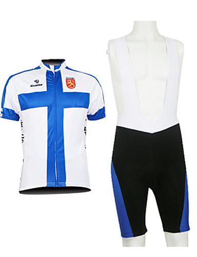 cheap Cycling Clothing-Malciklo Men's Half Sleeve Cycling Jersey with Bib Shorts Finland Champion National Flag Bike Clothing Suit Breathable Waterproof Zipper Sports 100% Polyester Mountain Bike MTB Road Bike Cycling