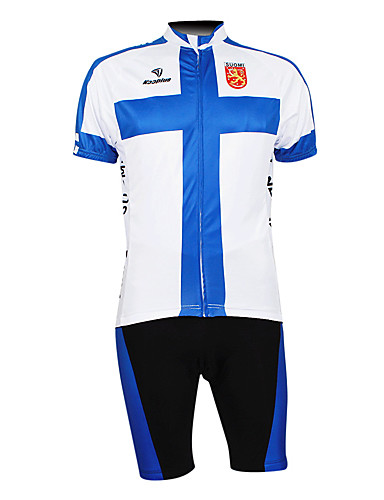cheap Cycling Clothing-Malciklo Men's Half Sleeve Cycling Jersey with Shorts - White+Blue Finland Champion National Flag Bike Clothing Suit Breathable Waterproof Zipper Sports 100% Polyester Mountain Bike MTB Road Bike