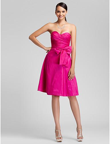 A-Linie Princess Bez ramínek Srdcový výstřih Ke kolenům Taft Šaty pro družičky s Mašle Boční řasení podle LAN TING BRIDE®