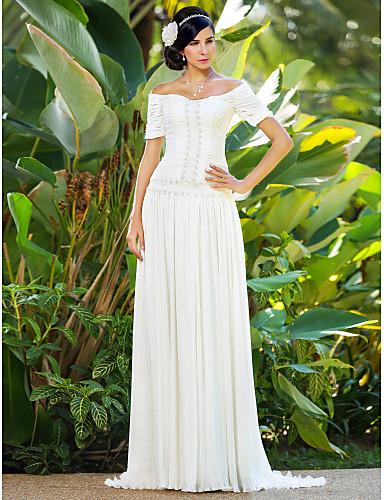 Tube / kolonne Børsteslæb Chiffon Bryllupskjole med Perlearbejde Blomst Ruche ved LAN TING BRIDE®