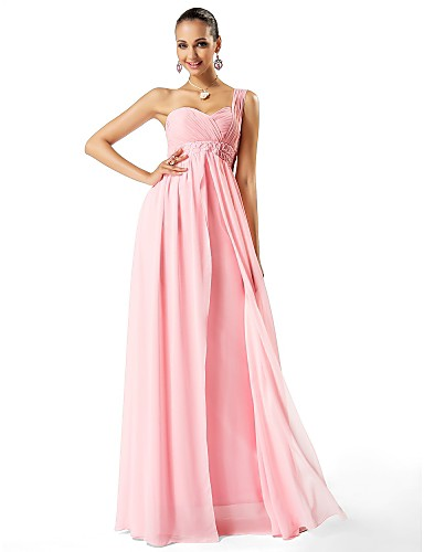 Sheath / Column One Shoulder Sweetheart Floor Length Chiffon Prom Formal Evening Military Ball Dress with Beading Draping Criss Cross by