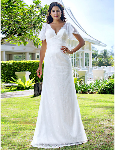 Sheath / Column V-neck Sweep / Brush Train Lace Wedding Dress with Lace by LAN TING BRIDE®